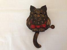 vintage cat clock #cat http://pinterest.com/ahaishopping/