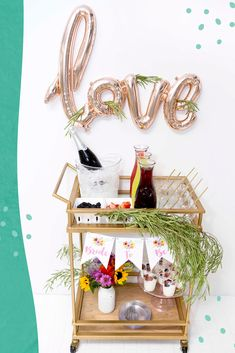 Bridal Shower Drinks, Bridal Shower Decorations, Wedding Decorations, Mimosa Bar, Bubbly Bar, Bar Cart Decor, Diy Wedding, Wedding Ideas, Balloons