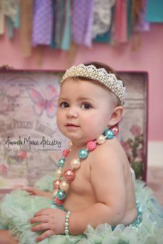 Lace crown headband Infant Newborn headband by PoshPeanutKids