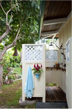 Shelf in the Outdoor shower. Outdoor shower measures roughly 6 feet x 5 feet. House Design, Outdoor Bathrooms, Outdoor Baths, Decor, Outdoor Space, Outdoor Shower, Outside Showers, Shower Design, Outdoor Spaces