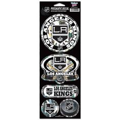 "LOS ANGELES KINGS OFFICIAL 10.5"" X 4"" PRISMATIC DECAL SET NEW SHIPPING"