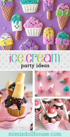 Let's throw an Ice Cream Party! This post is full of fabulous ice cream part… Let's throw an Ice Cream Party! This post is full of fabulous ice cream party treats, ice cream party decorations, ice cream birthday printables and ice cream birthday ideas! Dessert Party, Buffet Dessert, Candy Party, Girl Birthday Themes, Girl Themes, Birthday Ideas For Girls, Kids Birthday Treats, Mantecaditos, Kids Party Decorations