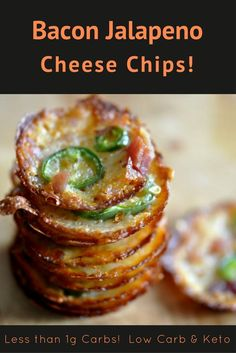 Bacon Jalapeno Cheese Chips - Delicious but healthy chips that are low carb, keto, and ever so tasty! Less than 1 gram of carbs per serving! Jalapeno Cheese Crack, It's so addicting!