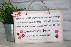 Unique Personalised Plaque with Names.Unique Present for Auntie. Handpainted Sign with Personal Message. Personalised Gifts For Friends, Personalized Plaques, School Signs, Aunt Gifts, Unique Presents, Birthday Messages, Hand Painted Signs, Auntie, Gifts For Family