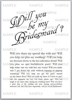Will You Be My Bridesmaids Card Future Wedding Pinterest - Will you be my bridesmaid letter template