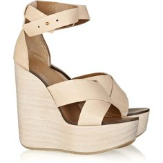 Chloé Leather wedge sandals (26,135 PHP) found on Polyvore