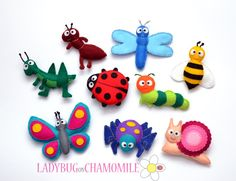 Felt magnet colorful BUGS  - fridge magnets - Butterfly Grasshopper Ladybug Ant Spider Dragonfly Caterpillar Bee Snail