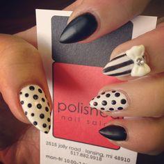 black & white stiletto nails