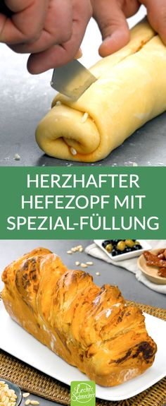 Herzhaften Hefezopf mit rotem Pesto einfach selber backen. Auch perfekt als Beilage zum Grillen. Eine tolle Alternativ zum süßen Hefezopf. #hefezopf #pestorosso #pesto Purple Flower Arrangements, Strudel, Hot Dog Buns, Sandwiches, Protein, Appetizers, Food And Drink, Low Carb, Cooking Recipes