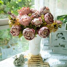 HuaYang Pretty Artificial Flower Peony Faux Floral Bouquet for Wedding Party Festival Home Office Bar Decor(Cameo Brown) HuaYang http://www.amazon.com/dp/B00QIGMYRC/ref=cm_sw_r_pi_dp_FdT8ub0G837HT