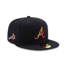 The Atlanta Braves Spring Training 59FIFTY Fitted Cap features an embroidered Braves logo at the front panels filled with an alternate logo that is also found at the rightwear side and a Liquid Chrome patch designating the location of their training facilities at the rear above the official MLB Batterman logo. Spring Training, Fitted Caps, Atlanta Braves, Mlb, Patches, Chrome, Logo, Design, Logos