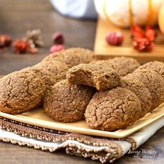 Soft Pumpkin Cookies (gluten-free, grain-free, Paleo, low-carb) by #livinghealthywithchocolate