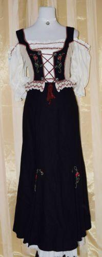 Dirndl-Trachtenkleid-schwarz-beige-Mieder-Rock-Gr-36-38-Leinen-Landhaus-Kleid