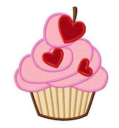 Valentine Cupcake Applique - 3 Sizes! | What's New | Machine Embroidery Designs | SWAKembroidery.com Dollar Applique
