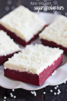 Red Velvet Sugar Cookie Bars with Cream Cheese Frosting #food #yummy #delicious