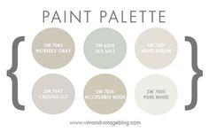 Pretty Paint Palette - Sherwin Williams Worldly Gray, Sea Salt, White Heron…