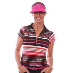 Birdee Sport of Australia Women's Midori Capsleeve Striped Golf Polo-Pink #birdeesport #golfpolos #shortsleevegolfpolos #patterns #ladiesgolfapparel #ladiesgolfshirts #golftops #shortsleevepolos