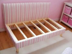 DIY Toddler Bed: Repurpose a crib mattress with upholstery. Easy, no-sew instructions: http://www.hgtv.com/kids-rooms/diy-upholstered-toddler-daybed/page-4.html?soc=pinterest