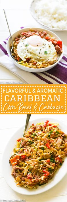 Caribbean Corn Beef and Cabbage -  An aromatic stir fried  cabbage  and corn beef  cooked the Caribbean Style  with aromatics. Easy peasy weeknight meal. from @africanbites