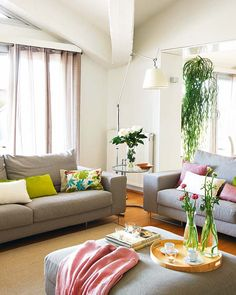 Beautiful Interior Color Combination For House : Peaceful Indoor Plants Grey  Sofa Floral Sofa Cushions Sectional Floor Lamp Color And Inspiring Details