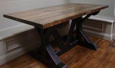 5 ft. custom farm table with dark walnut top and black bottom rubbed through