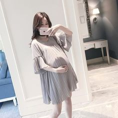 Summer Chiffon Maternity Dress Clothing for … Plus Size Maternity Dresses, Maternity Dress Outfits, Dresses For Pregnant Women, Pregnancy Outfits, Maternity Fashion, Pregnancy Clothes, Korean Babies, Asian Babies, Ulzzang Korean Girl