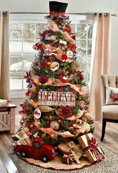 Burlap Christmas Tree, Beautiful Christmas Trees, Farmhouse Christmas Decor, Christmas Tree Themes, Noel Christmas, Xmas Decorations, Simple Christmas, White Christmas, Diy Christmas Tree Topper