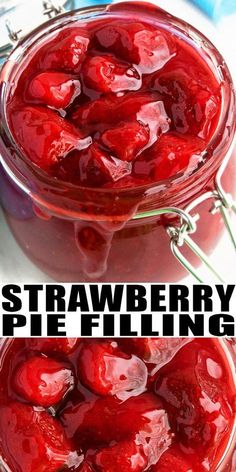 STRAWBERRY PIE FILLING RECIPE Quick easy homemade fresh simple made from scratch with simple ingredients snd no cornstarch in less than 30 minutes It can be canned with m. Fresh Strawberry Pie, Strawberry Recipes, Fruit Recipes, Sweet Recipes, Dessert Recipes, Strawberry Glaze, Strawberry Pie Fillings, Strawberry Filling For Cake, Strawberry Tarts