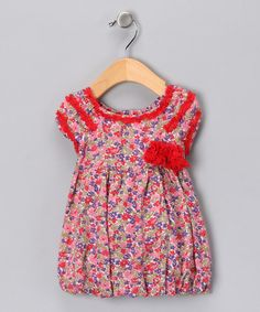 #fall #zulily Take a look at this Red Lienne Bubble Dress - Infant by Blow-Out on #zulily today!
