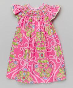 Loving this Hot Pink & Green Floral Bishop Dress - Infant, Toddler & Girls on #zulily! #zulilyfinds