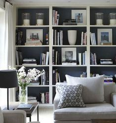 Home Design Ideas: Home Decorating Ideas Living Room Home Decorating Ideas Living Room Family room - Dark Bookshelves (dark cupboard doors too) with white trim Interio. Bookshelves In Living Room, Bookshelves Built In, Built Ins, Bookcases, Book Shelves, Wall Shelving Living Room, Built In Cupboards Living Room, Bedroom Wall Shelves, Wall Cabinets Living Room