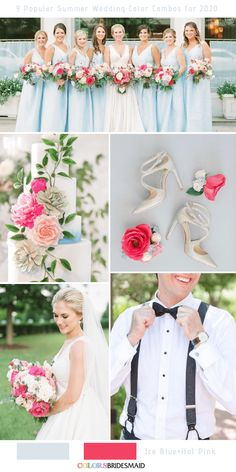 9 popular summer wedding color combinations for 2020 9 Popular Summer Wedding Color Combos for 2020 9 Popular Summer Wedding Color Combos for Ice blue + Hot pink. Rosa Bouquet, Hot Pink Bouquet, Purple Summer Wedding, Pink Wedding Theme, Fuschia Wedding, Wedding Colours, Pink Summer, Summer Fall, Fall Winter