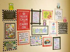 mural com frases motivacionais segurado com washi tape