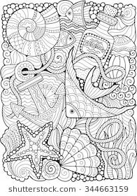 Vector Coloring Book For Adult Summers Sea
