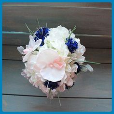 Round Bridesmaids Bouquet in Blush Pink orchids with white Hydrangeas and blue cornflowers. - Wedding table decor (*Amazon Partner-Link)