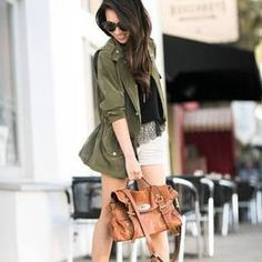 Army Green Silk Utility Jacket