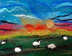 Moonlight over the Flock  Original Felt Picture/Wall Hanging