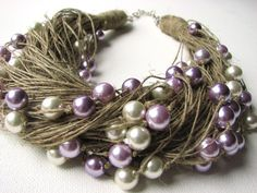 LOVELY pearls  Big  linen necklace by GreyHeartOfStone on Etsy, $38.00