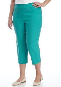 New Directions Turquoise Ibiza Plus Size Pull On Slim Leg Crop Pant