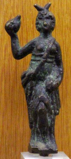 Horned Goddess. Gaulish bronze. Musée Bargoin, Clermont, France. 2nd century CE