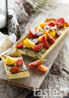 Heirloom tomato tart with edith goat's cheese