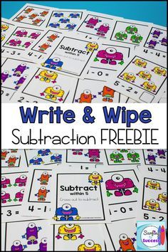 Looking for math centers for kindergarten or first grade? These Write and Wipe Subtraction Cards are great math activities. Just print and laminate and these write and wipe printables will be ready to use year round. Kindergarten math and first grade ma Subtraction Kindergarten, Kindergarten Math Games, Subtraction Activities, Math Classroom, Fun Math, Teaching Math, Math Activities, Numeracy, Subitizing