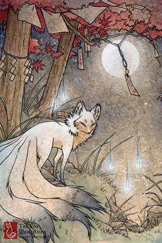 Fox & Wisps / Fox Spirit, Yokai, Foxfire / Japanese Style / 4x6 Fine Art…
