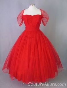 1950s Fred Perlberg Red Tulle Party Dress