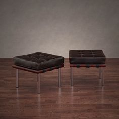 159.99  15.5  x 18 x 18  Andalucia Dark Brown Leather Ottomans (Set of 2)