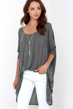 Washed Grey Top - Oversized Top - Short-Sleeve Top - $61.00