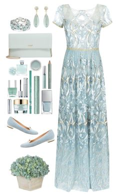"""""""Light and Lovely"""" by terecc ❤ liked on Polyvore featuring Notte by Marchesa, Charlotte Olympia, Alexis Bittar, Kim Rogers, Kate Spade, Azzaro, Estée Lauder, Gucci, MAC Cosmetics and Giorgio Armani"""