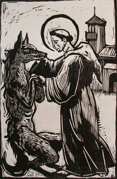 woodcut of a Werewolf a monk....