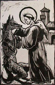 woodcut of a Werewolf a monk....