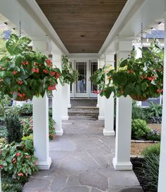 The Smith's landscape artist Elizabeth Rice spaced the columns of the breezeway equi-distant from the pathway, giving balance to the yard